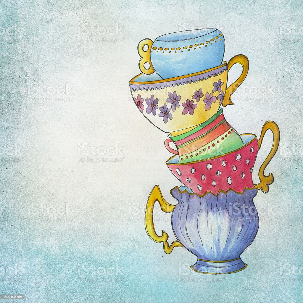handpainted vintage cups on aqua color background stock photo