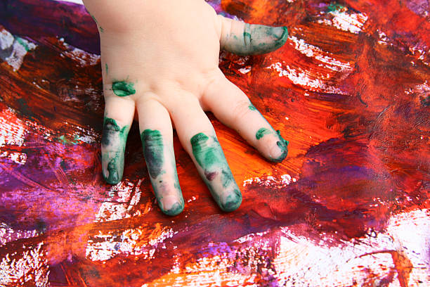 handabdruck art - fingerfarben stock-fotos und bilder