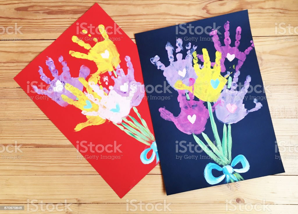 Handprint Flowers Bouquet Spring Toddler Craft Stock Photo More