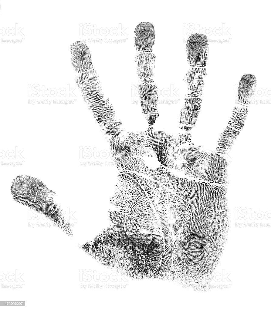 Handprint right hand stock photo