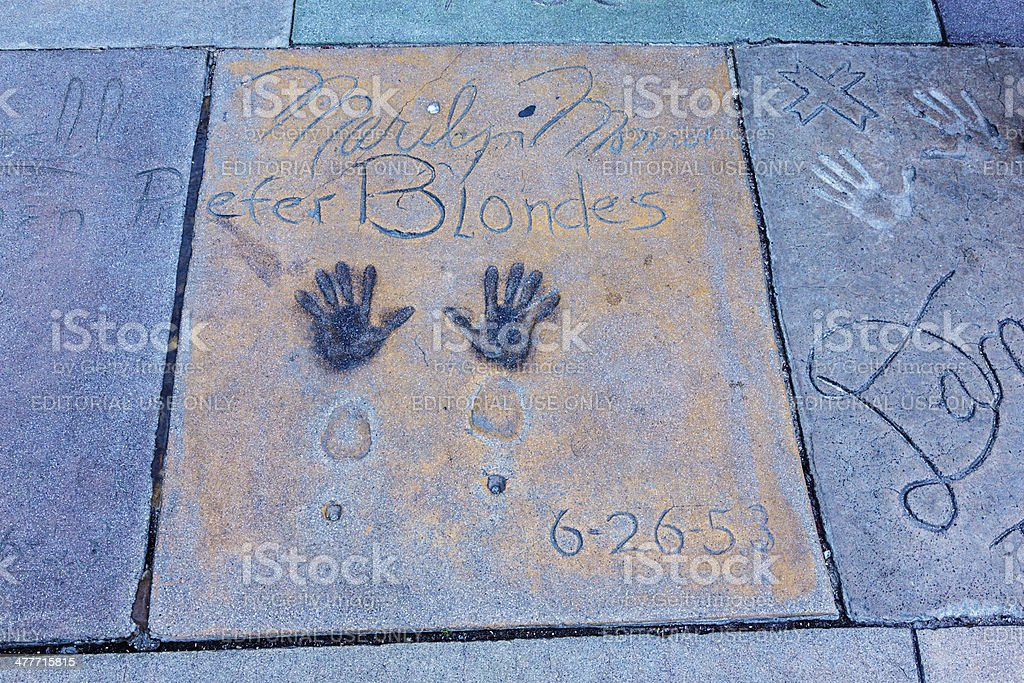 Handprints and Footprints Marilyn Monroe Chinese Theatre Hollywood stock photo
