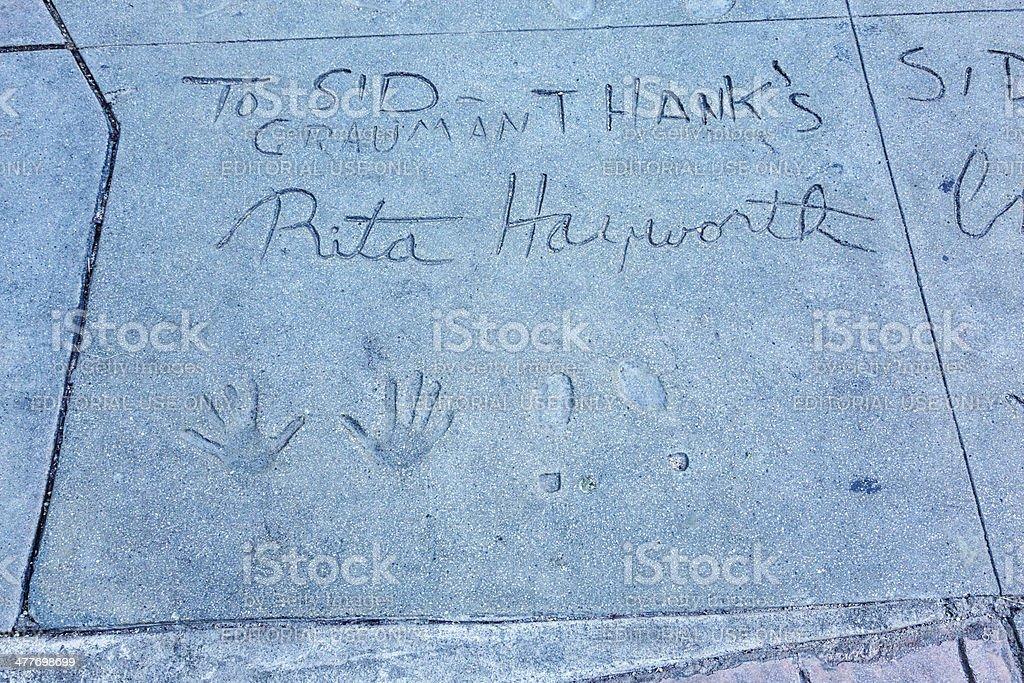 Handprints and Footprints Rita Hayworth Chinese Theatre Hollywood stock photo