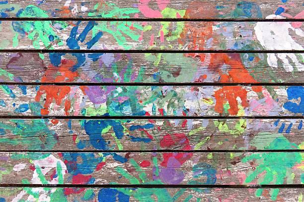 handprints hintergrund - fingerfarben stock-fotos und bilder
