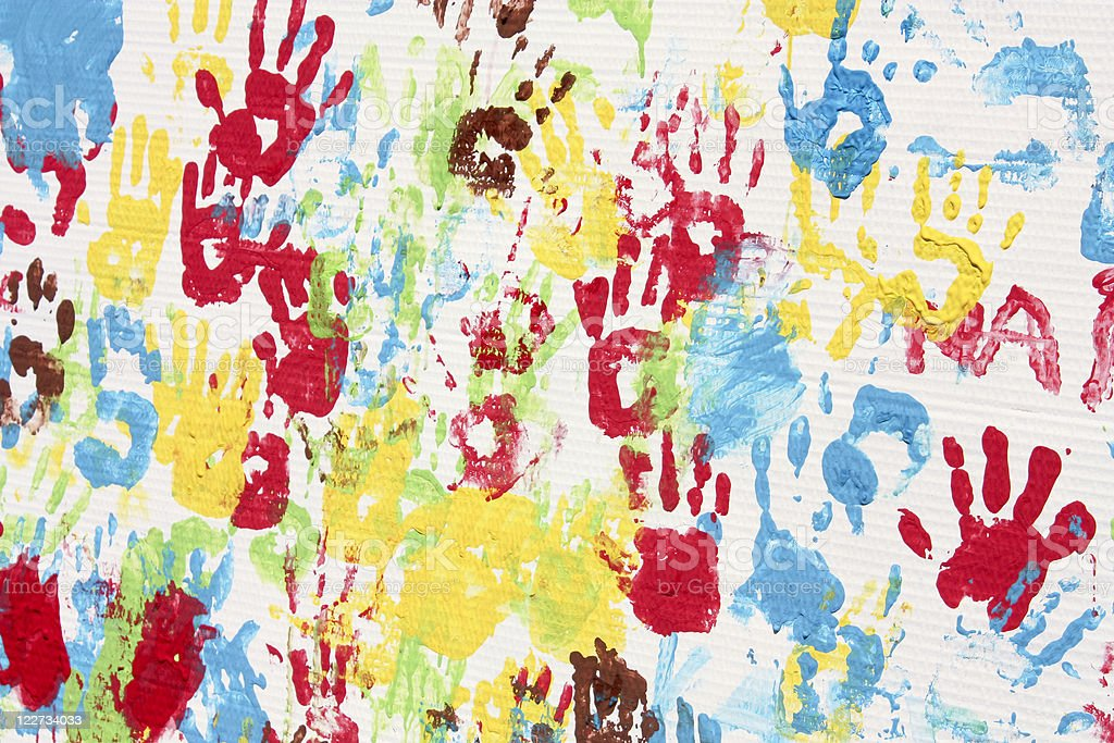 Handprints. Background picture stock photo