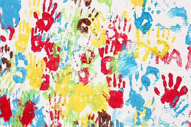 handprints. hintergrund bild - fingerfarben stock-fotos und bilder