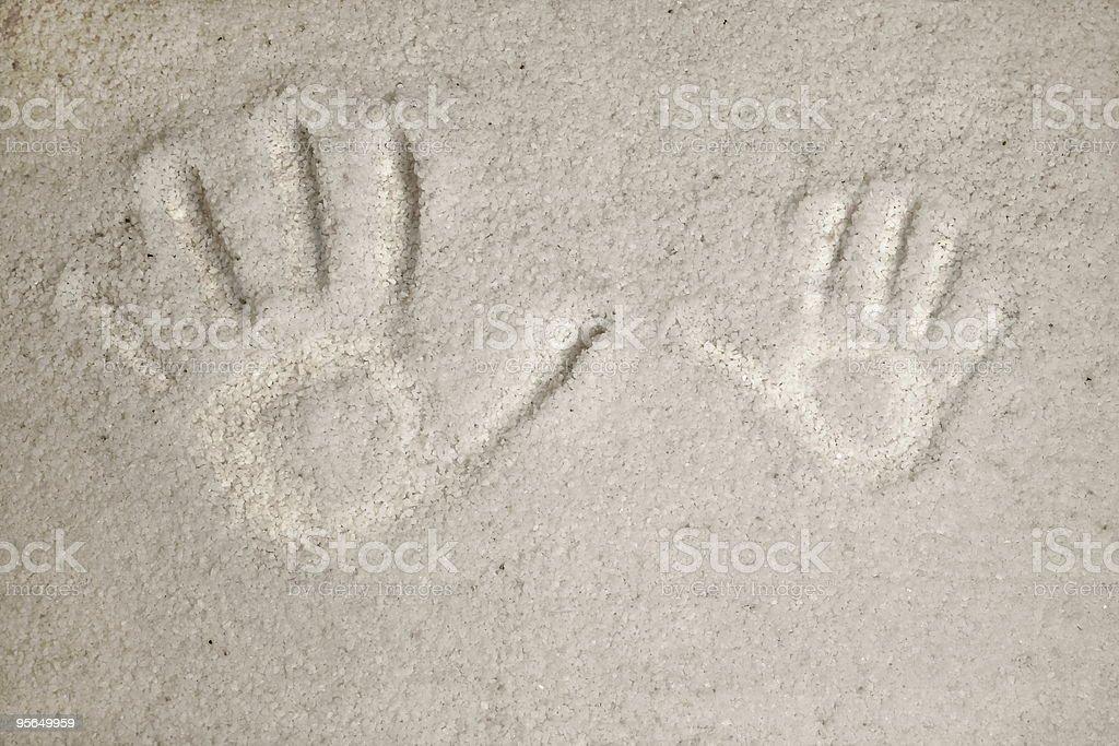 Handprints in weißen Sand - Lizenzfrei Farbbild Stock-Foto