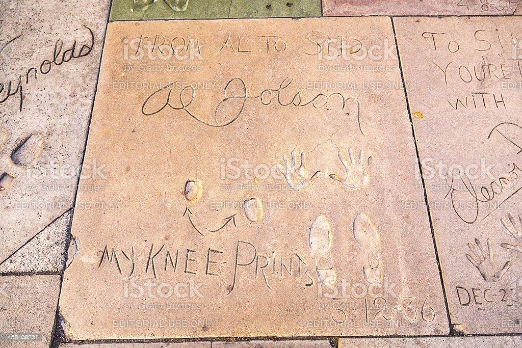 handprints  of Al Jolson  in Hollywood stock photo