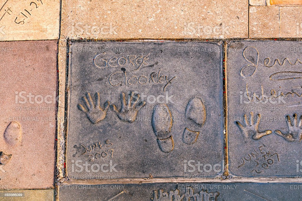 handprints of George Clooney in Hollywood Boulevard in the concr stock photo