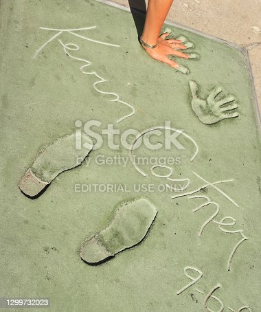 Los Angeles, USA - May 3, 2008: handprints of stars in Hollywood in the concrete of Chinese Theatre's forecourts,California, USA