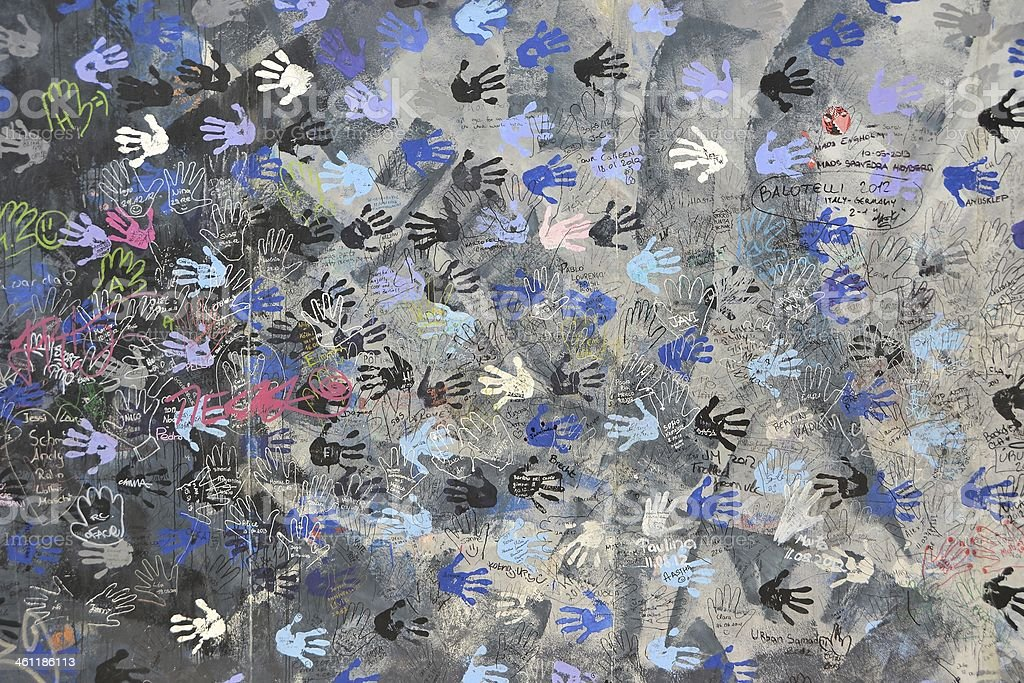 Handprints on the Berlin Wall stock photo