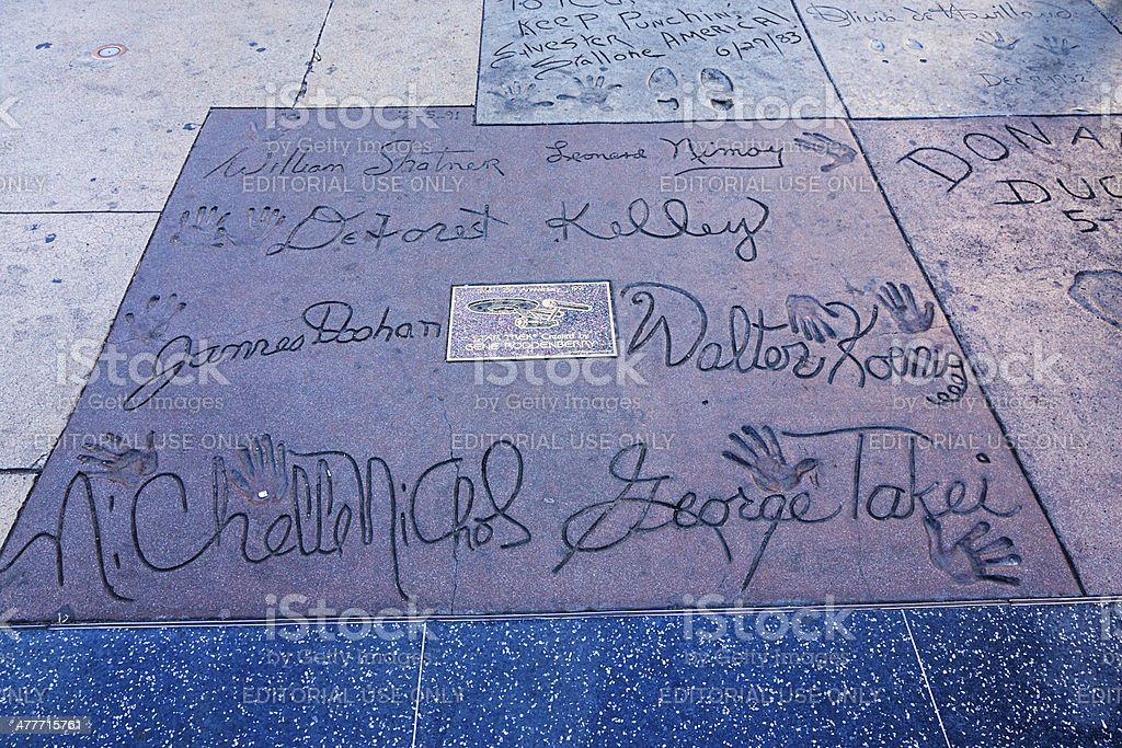 Handprints Star Trek Cast Chinese Theatre Hollywood stock photo