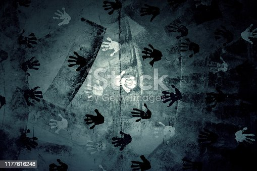 535193210 istock photo Handprints wall 1177616248