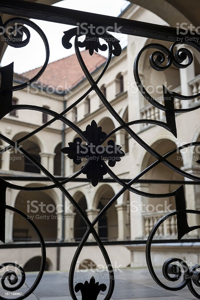 Handrail and balcony in old Palace, Poland royalty-free stock photo