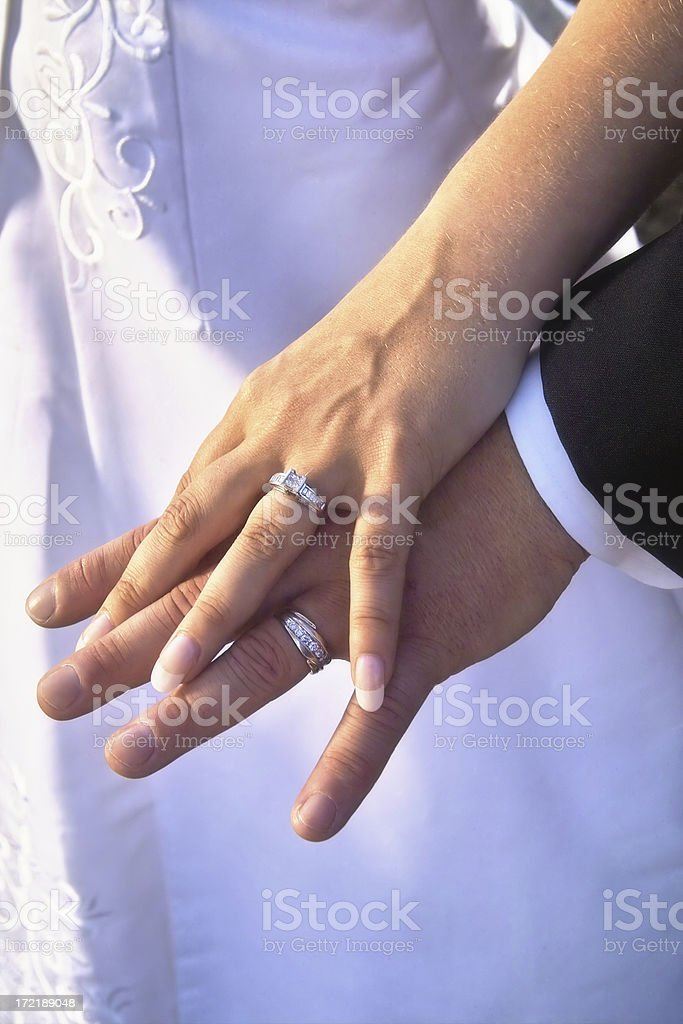 Hands & Bands - Just Married royalty-free stock photo