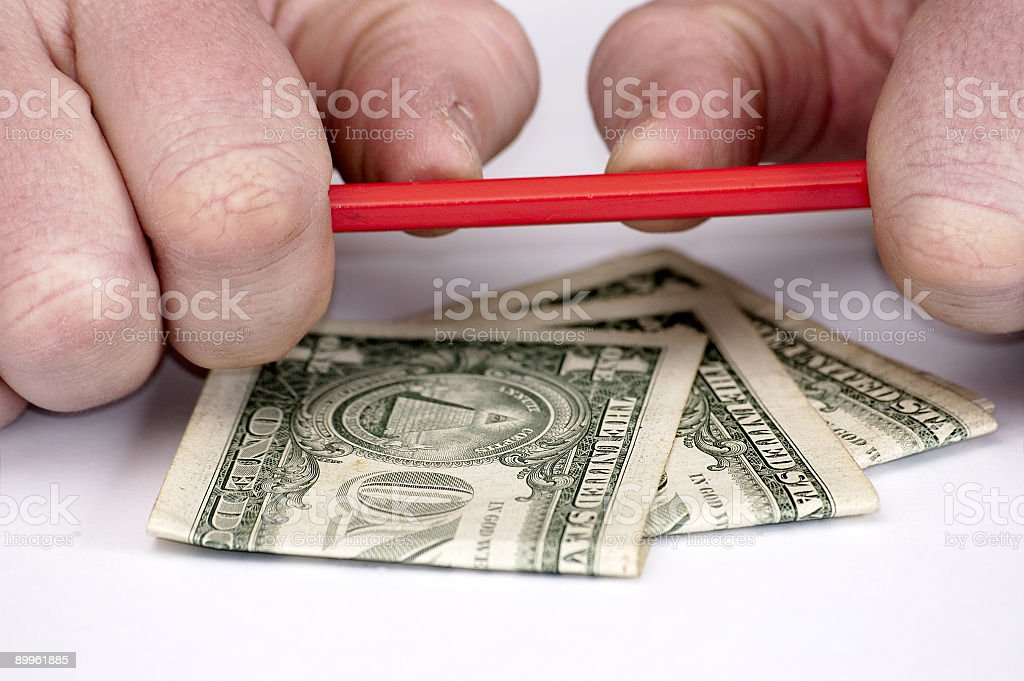 Hands and american money. stock photo