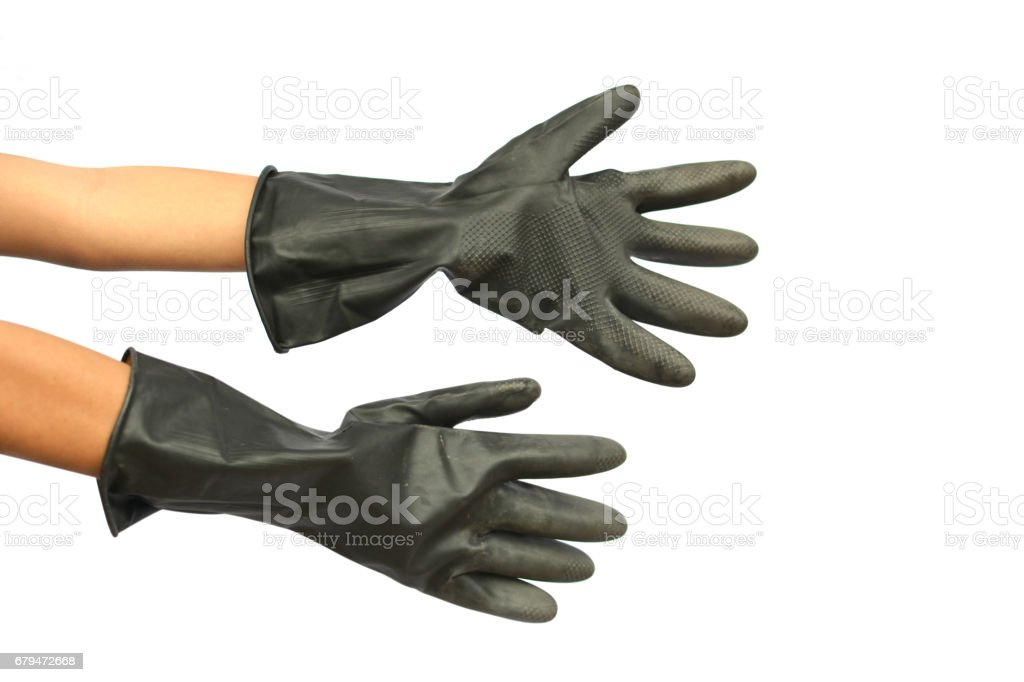 Hands and black gloves for agriculture on white background royalty-free stock photo
