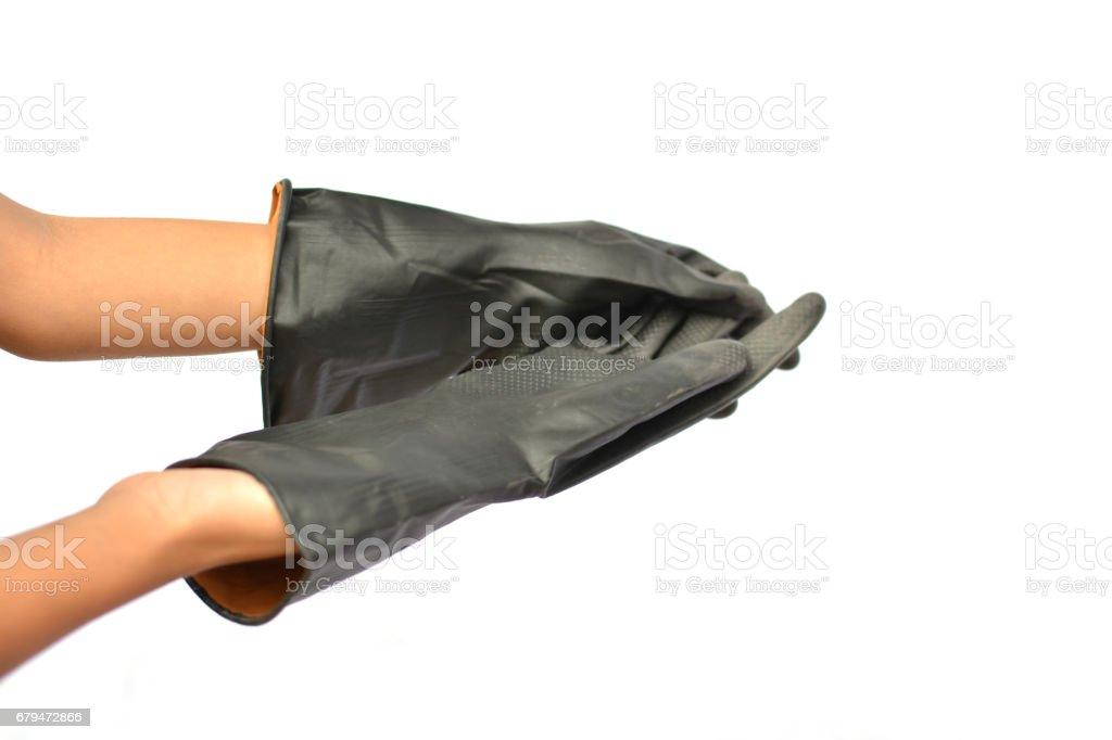 手和農業在白色背景上的黑色手套 免版稅 stock photo
