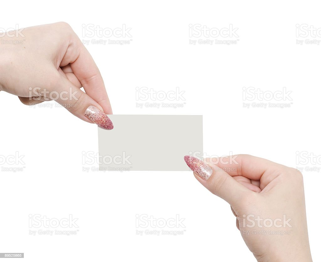 hands and business card royalty-free stock photo