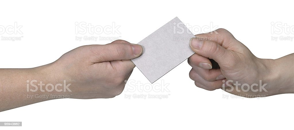 hands and busuness card handover royalty-free stock photo