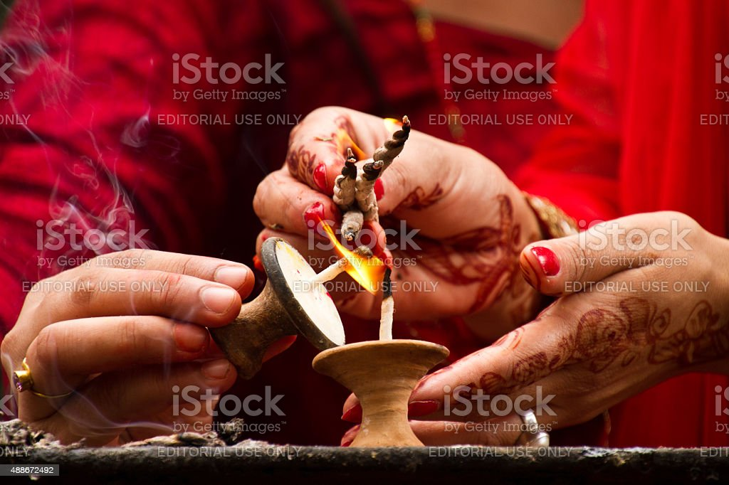 Hands and candle blessings, Teej festival, Durbar Square, Kathma stock photo
