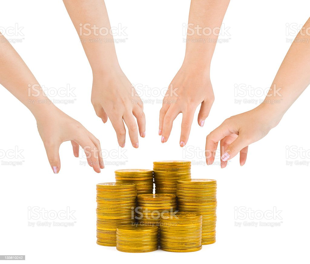 Hands and coins royalty-free stock photo