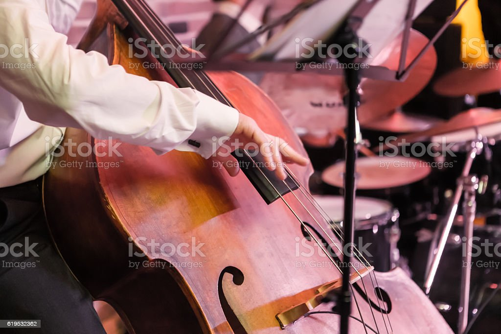 hands and contrabass - foto de acervo