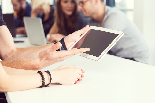 Hands And Digital Tablet Stock Photo - Download Image Now