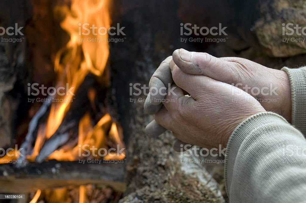 Hands and fire royalty-free stock photo