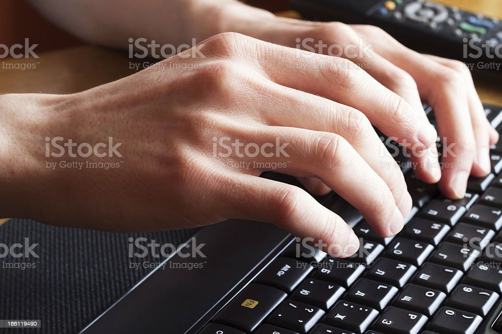 Hands and keyboard royalty-free stock photo