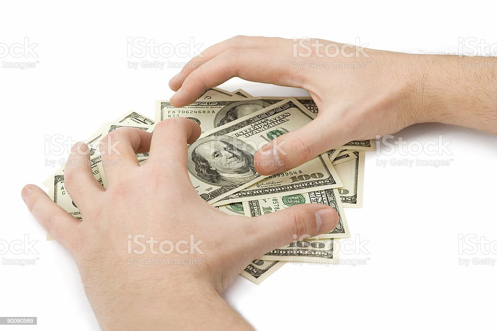 Hands and money royalty-free stock photo