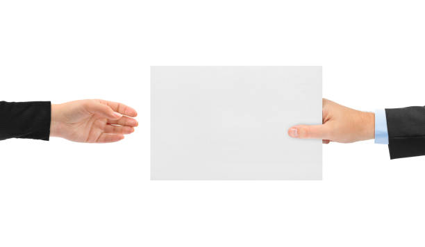 Hands and paper stock photo