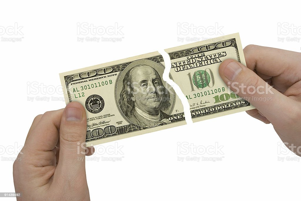 Hands and parts of bank-note royalty-free stock photo