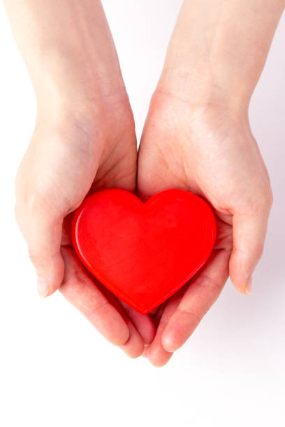 Hands and red heart - blood donation,world blood donor day stock photo