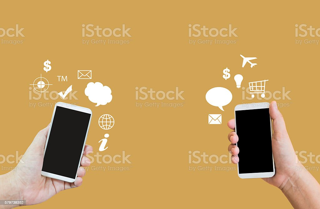 Hands and smartphone, business to business or transferring data stock photo