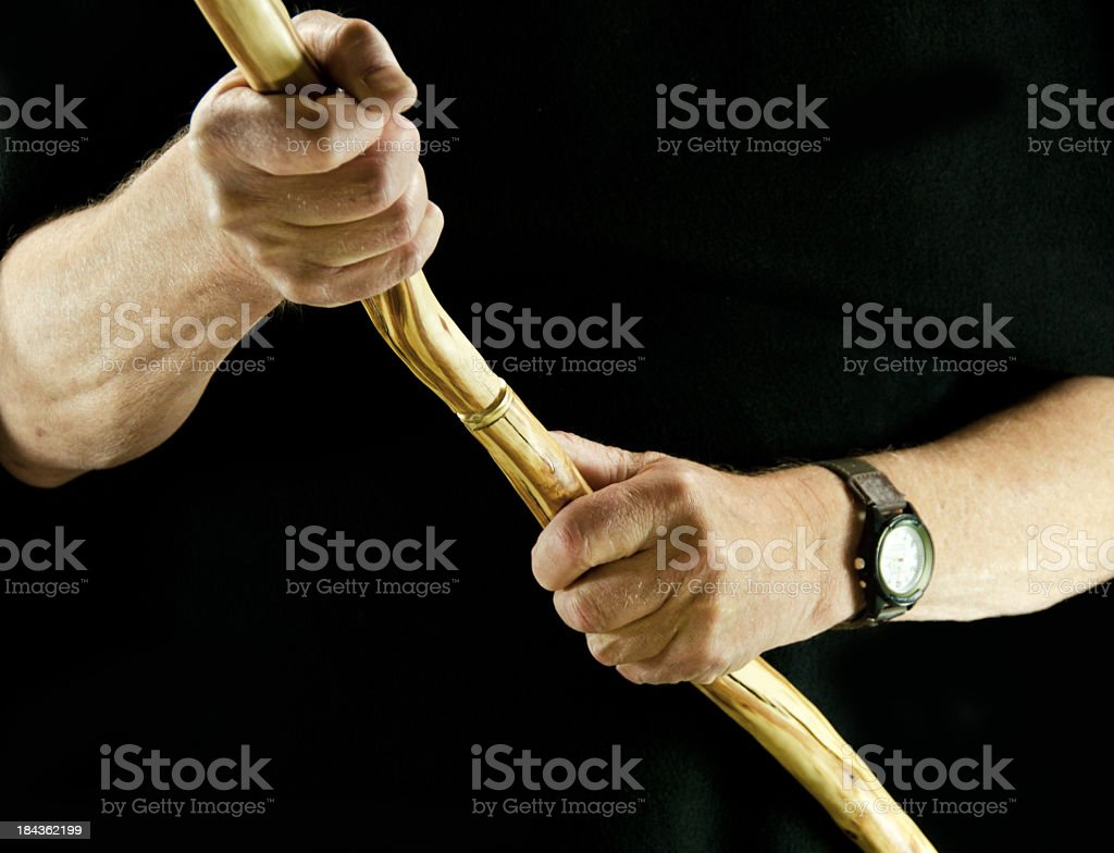 Las manos y caminar Stick - foto de stock