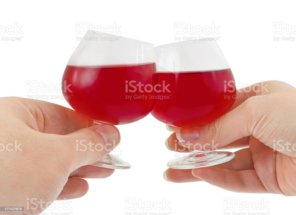 Hands and wineglasses royalty-free stock photo