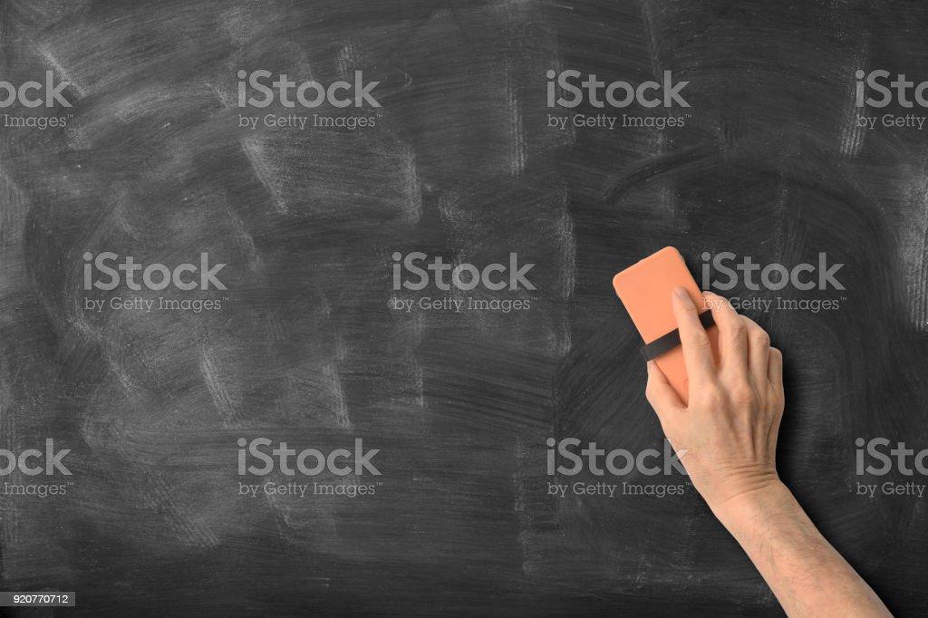 As mãos estão apagando o quadro-negro - foto de acervo