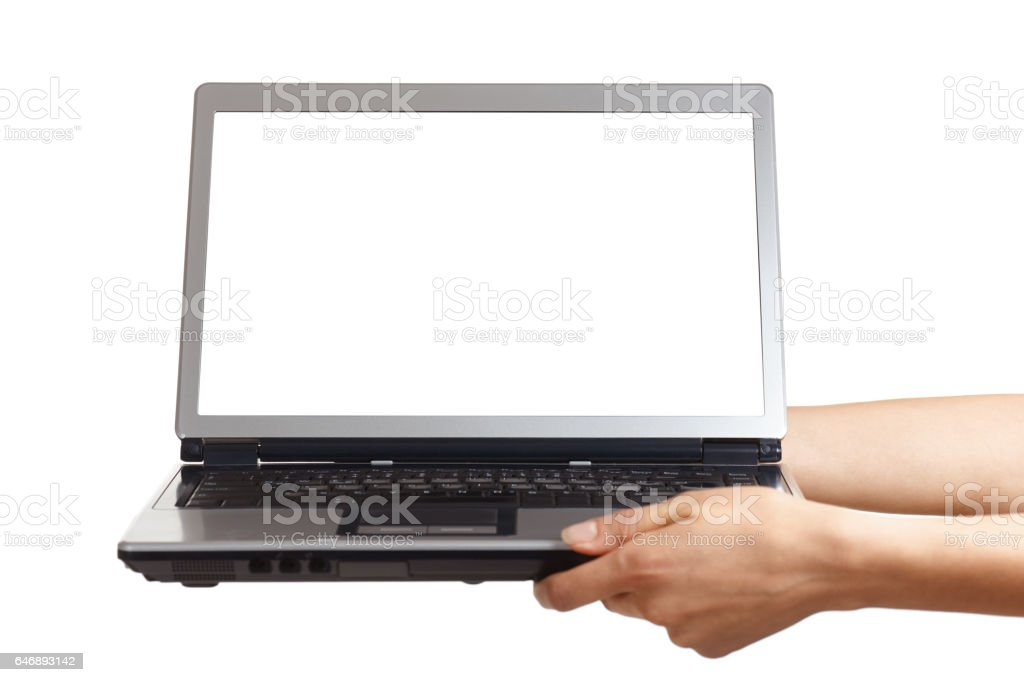 Hands are holding an open laptop computer with white screen stock photo