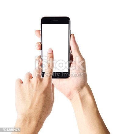 istock Hands are holding and tuching on mobile phone 501386476