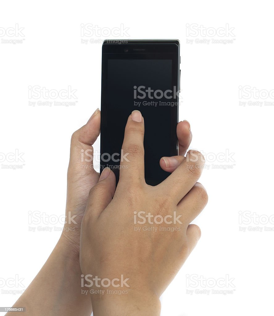 hands are holding on Smart Phone. royalty-free stock photo