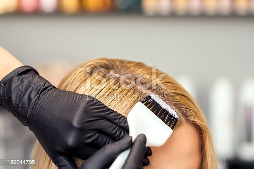 istock Hands are painting the female hair in a white color close up. 1186044705