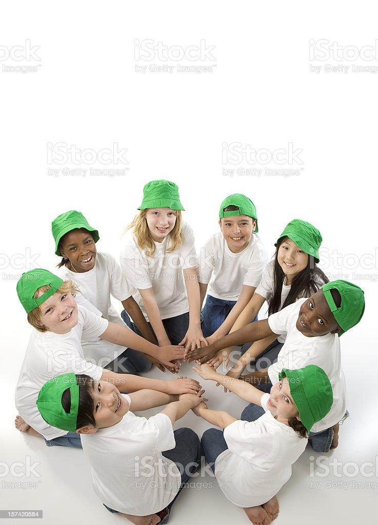 Hands Around the World Go Green royalty-free stock photo