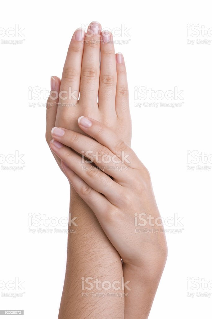 Hands caressing royalty-free stock photo