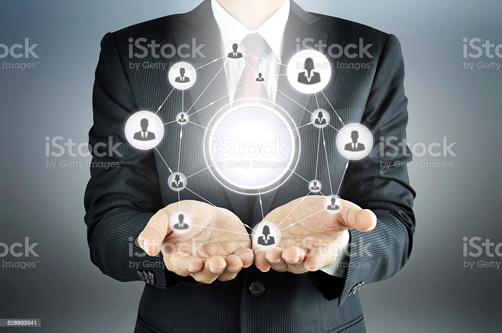 Hands carrying businesspeople icon network stock photo