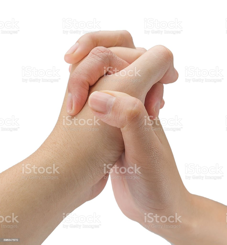 Hands clasped together royalty-free stock photo
