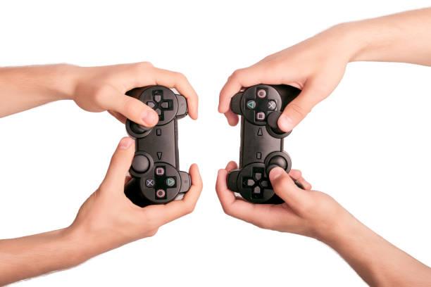 hands concept. gesturing - man joystick imagens e fotografias de stock