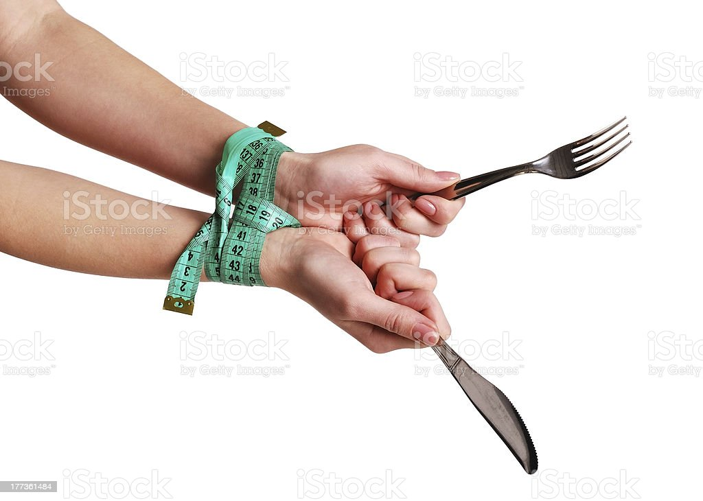 Hands connected by a tape stock photo