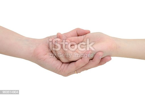 974882202istockphoto Hands connecting two people isolated on white background. 953514904