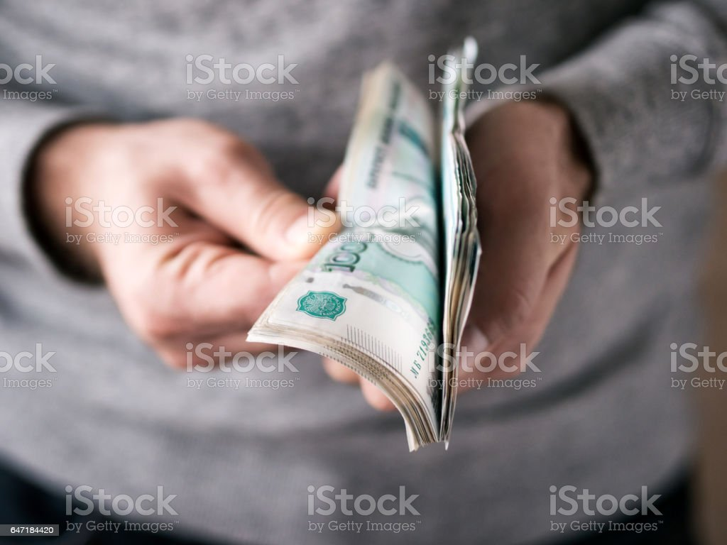 Hands counting rubles - foto de stock