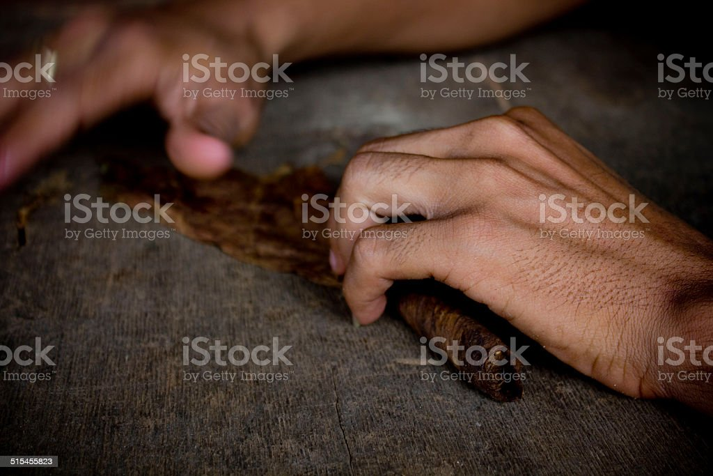 Hands Doing Typical Cubano Cigars Stock Photo - Download
